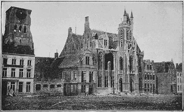 (Newspaper Illustrations) THE TOWN-HALL AND BELFRY AFTER THE FIRST DAYS OF THE BOMBARDMENT
