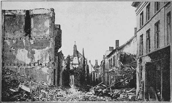 "(Newspaper Illustrations) THE ""KIEKENSTRAAT"" (CHICKEN STREET) AFTER THE FIRST DAYS OF THE BOMBARDMENT"