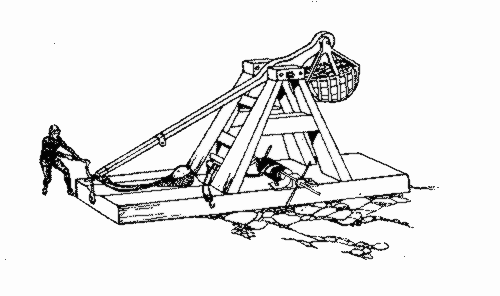 Labeled Catapult Diagram Parts Sketch Coloring Page