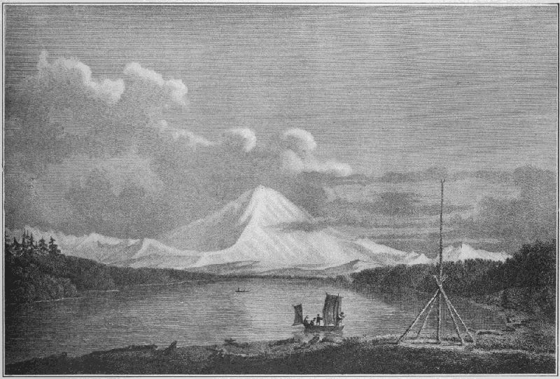 First Picture of Mount Rainer.<br /><br /><br /><br /><br /><br /><br /> Drawn by W. Alexander from a sketch by J. Sykes, 1792. Engraved by J. Landseer for Vancouver's Journal.