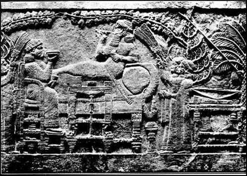 Ashur-bani-pal, reclining at meat