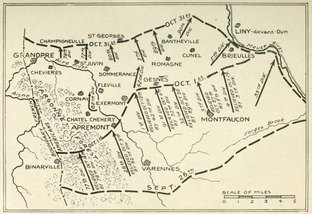medium resolution of map no 5 divisions in the second stage of the meuse argonne battle october 1st 31st