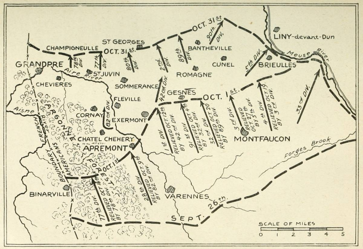 hight resolution of map no 5 divisions in the second stage of the meuse argonne battle october 1st 31st