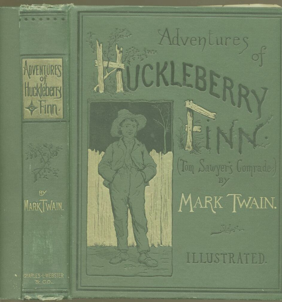 Cover and binding of the first U.S. edition of The Adventures of Huckleberry Finn, by Mark Twain, pen name of Samuel Clemens. Gutenberg Project image