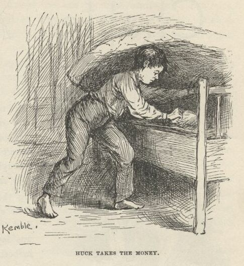 Illustration from Chapter XXVI of Huckleberry Finn.  Illustrations by Kemble.