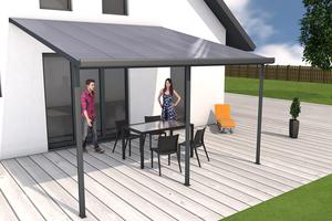 Terrassendach anthrazit 4x4m