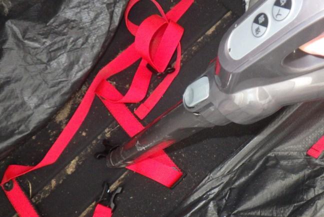 Vacuuming out the bike bag
