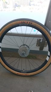 Bicycle wheel with tire fully inflated