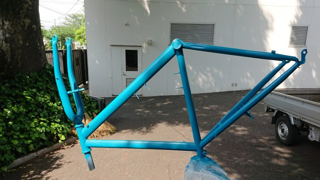 Bicycle frame after repainting