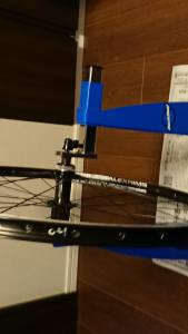 Bicycle wheel in truing stand
