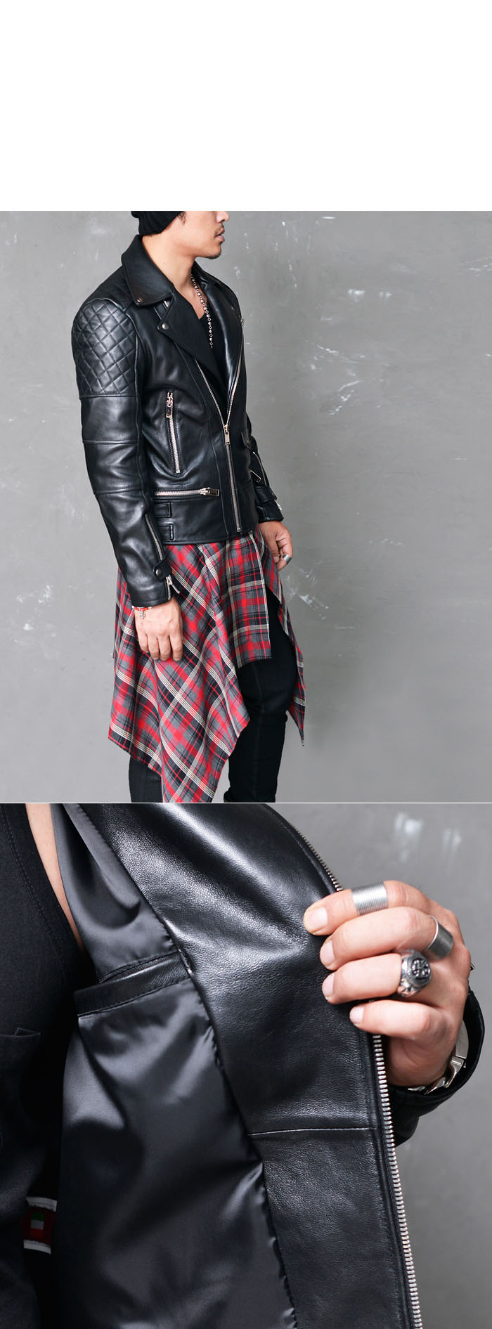 Outerwear Leather Jackets Quilting Arm Multi Zip