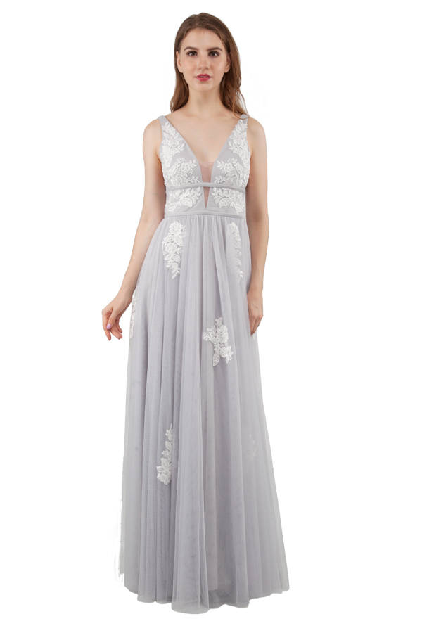 Miss Anne 218303 long Silver or White Formal gown $390