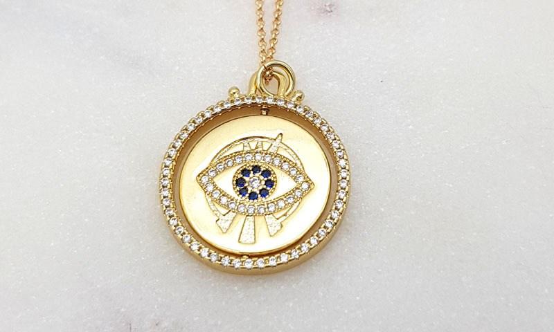 Chrysalini  Mati eye spinning necklace gold plated $27