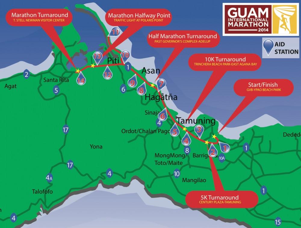 グアムインターナショナルマラソンのコースマップ(アップ)