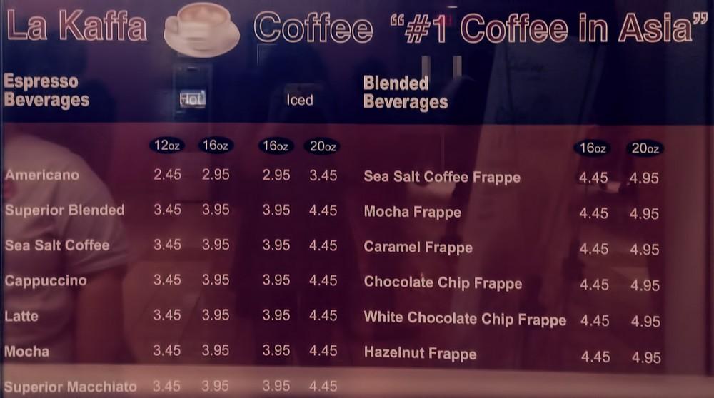 La Kaffa Coffeeのメニュー表 チャタイム (マイクロネシアモール)