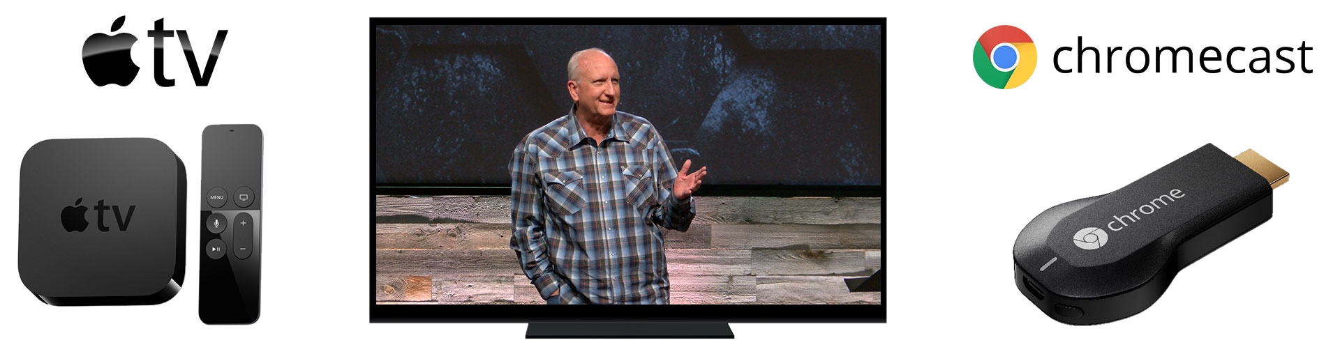 Watch the weekend message on your TV through AppleTV or Chromecast