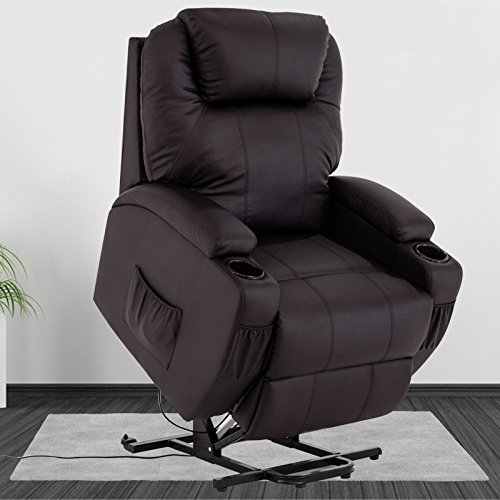 wall hugger recliner chair covers for hire port elizabeth mecor power lift leather living room lounge seat brown