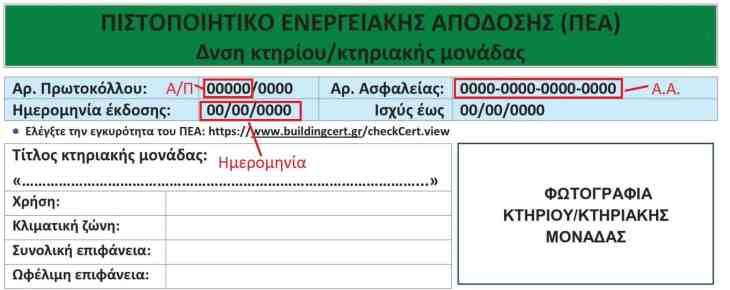Οδηγίες καταχώρησης Πιστοποιητικού Ενεργειακής Απόδοσης