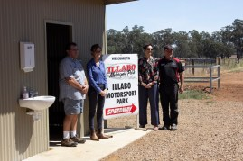 David Carter (Illabo Showgrounds Land Manager), Steph Cooke MP (Member for Cootamundra), Stacy Moses (Junee Shire Council), Kerry Phelan (Gasworks Motorsports) -- Illabo Motorsport Park March 10, 2021