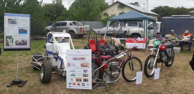 #34 and solo bikes on static display promoting Gasworks Motorsports Inc and Illabo Motorsports Park out at the Stockinbingal Market day on November 24, 2018