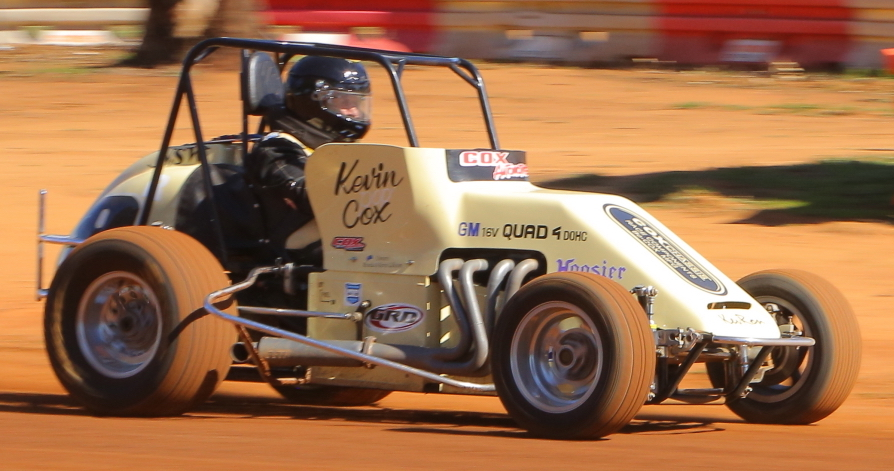 Vintage Speedcar Assoc NSW present Kevin Gillison puts the Kevin Cox Midget through its paces at Illabo. Photo by Rhys Harrison