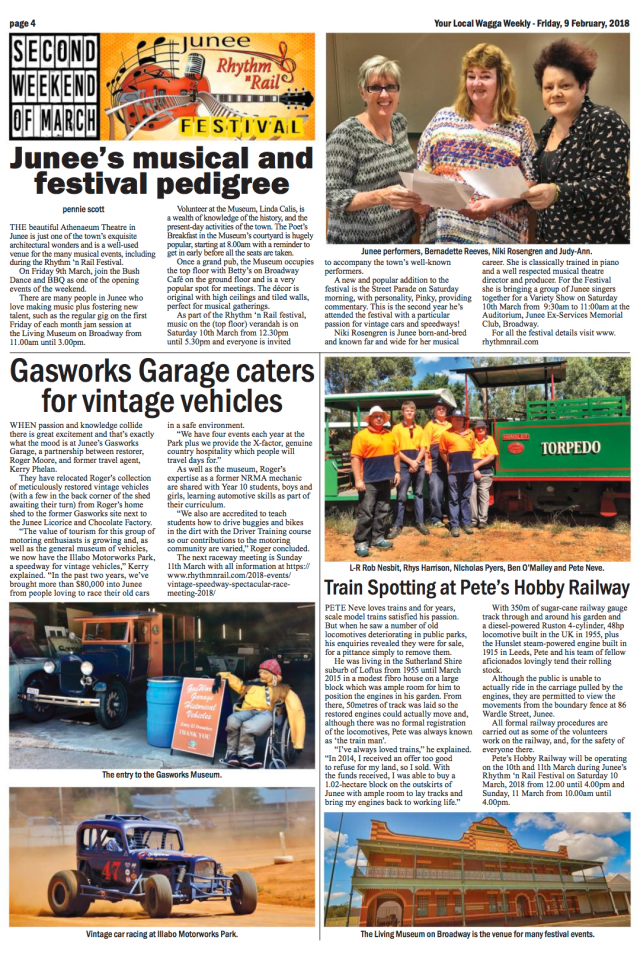 Gasworks Garage caters for vintage vehicles. Wagga Weekly, Page 6, February 9, 2018