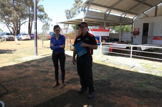 Steph Cooke MP listening to the opening comments made by Kerry Phelan -- Illabo Motorsport Park March 10, 2021