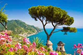 Scenic picture-postcard view of famous Amalfi Coast with Gulf of