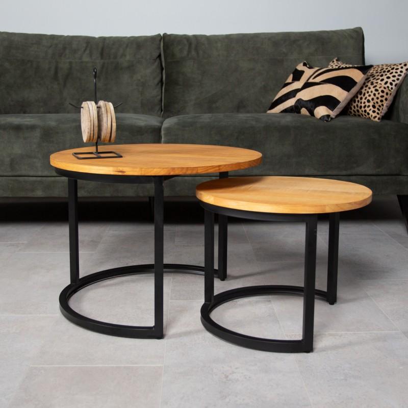 pine coffee table set tuvalu 2 pieces with black metal frame
