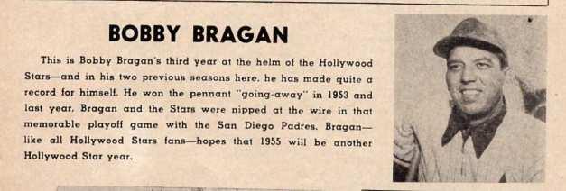 Bobby Bragan - from 1955 Hollywood Stars Program b