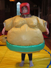 Elspeth dressed as a sumo