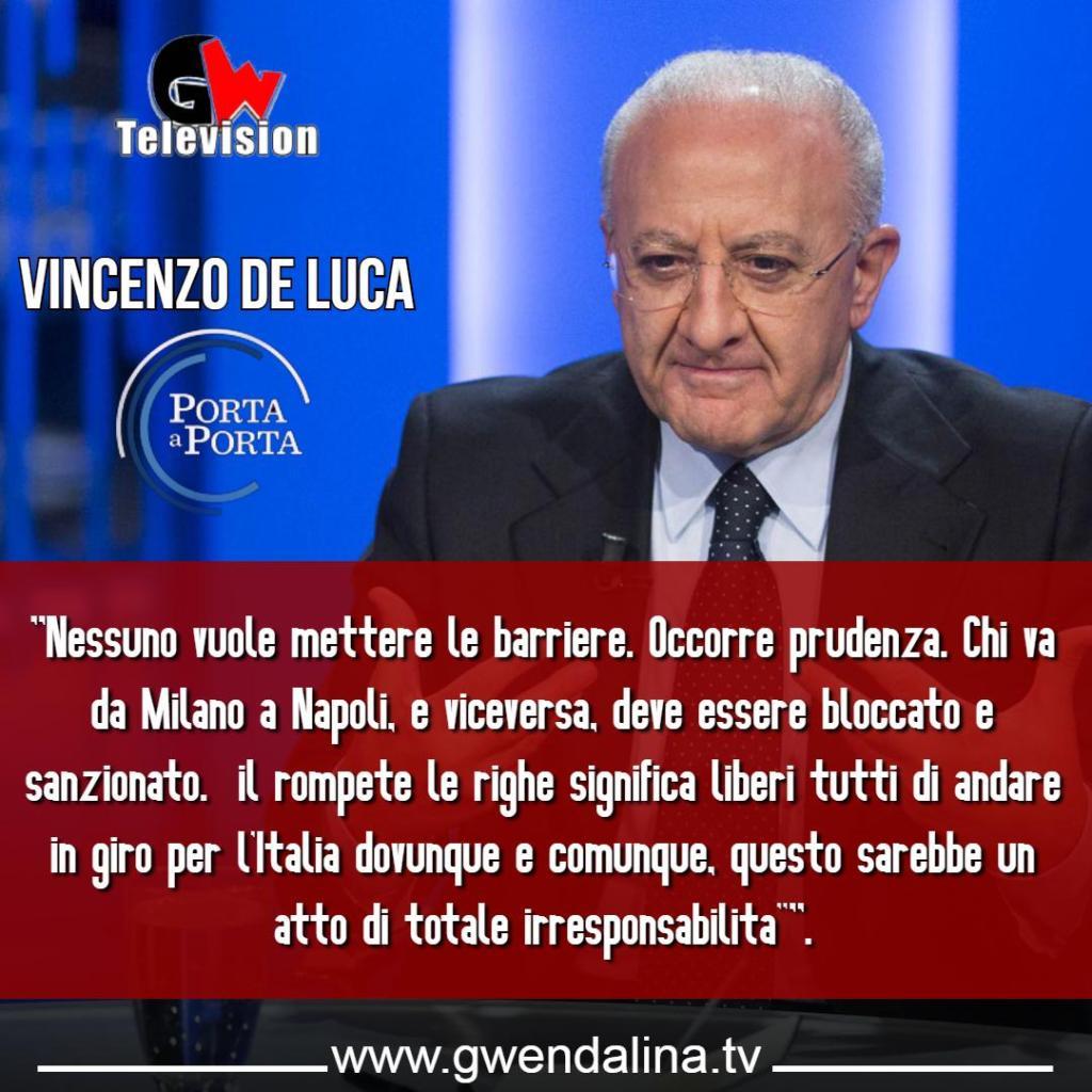"""L'intervento completo di De Luca a """"Porta a Porta"""" - Gwendalina.tv"""