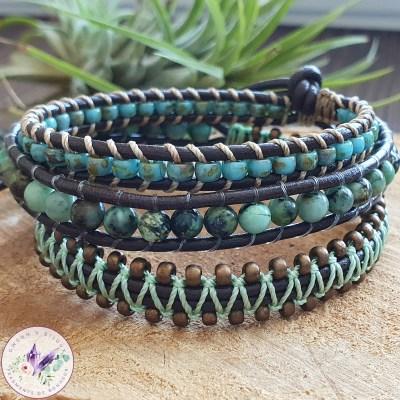 Bracelet Wrap Turquoise Africaine
