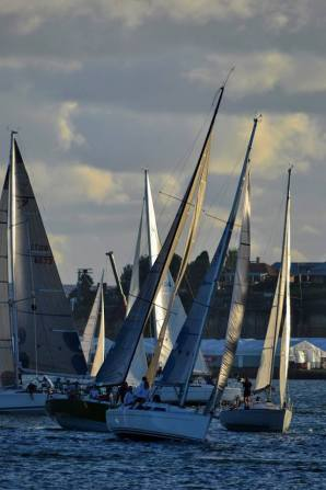 Elan 340 G-whizz. A gaggle of yachts in Humbug