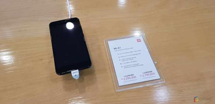 Mi A1 yang menjadi salah satu produk display.