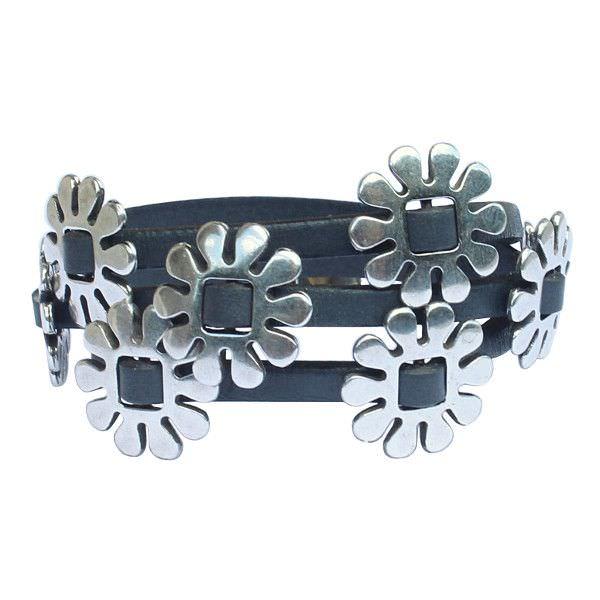 """Bracelet cuir femme 3 tours """"Marguerite"""" gris"""