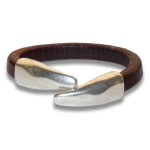 Bracelet femme demi jonc cuir regaliz marron