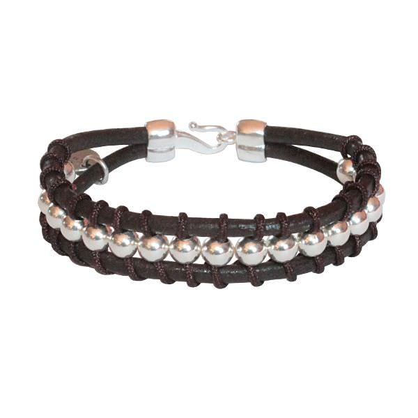 Bracelet enfant cuir wrap perles argent massif
