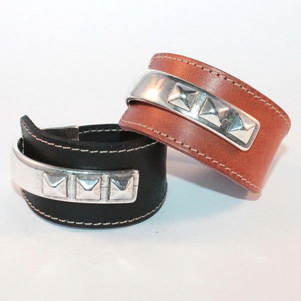 Bracelet cuir femme manchette demi jonc Gizeh 1