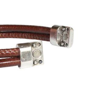 Bracelet homme cordon cuir surpiqué Taman cognac 2