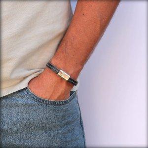 Bracelet homme cuir surpiqué gris Sellier 4