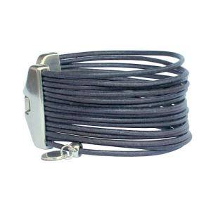 Bracelet cuir femme manchette multiliens gris foncé mat 3