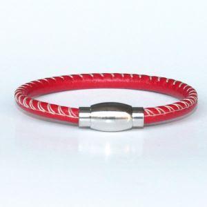 Bracelet enfant cuir surpiqué rouge
