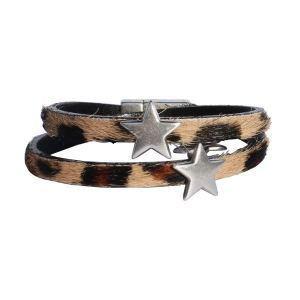 """Bracelet enfant fille cuir à poils """"Léopard"""" étoile"""