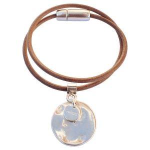 Bracelet cuir femme 2 tours Médaille