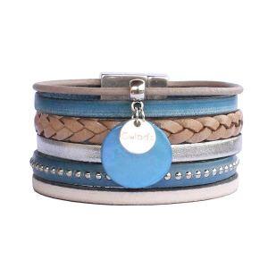 Bracelet manchette cuir femme lanières bleu jean 1