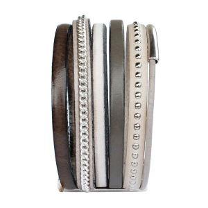 """Bracelet cuir femme manchette lanières cuir """"Jungle"""" taupe kaki 2"""