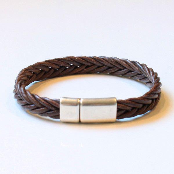 """Bracelet homme cuir cordon tressé chocolat """"Luxor"""" 1"""