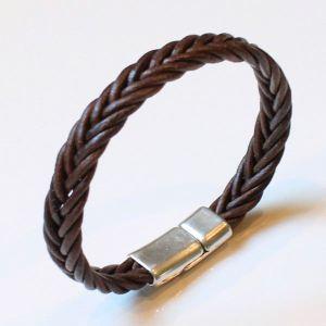 """Bracelet homme cuir cordon tressé chocolat """"Luxor"""" 2"""