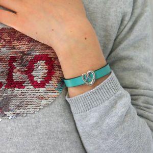 bijou bracelet cuir enfant fille coeur fermoir aimanté 2 600